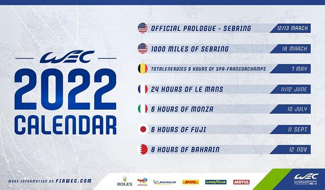 FIA y ACO presentan el calendario provisional 2022 del WEC