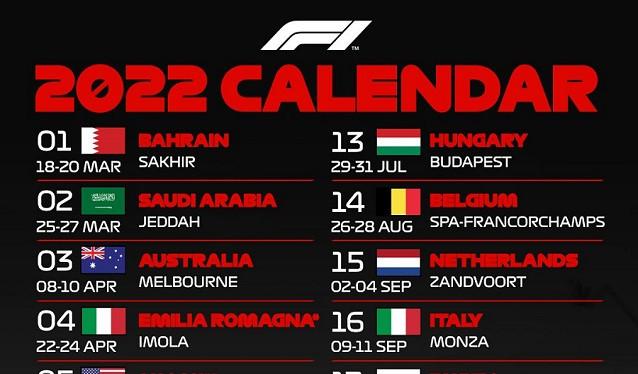 Presentado el calendario oficial de la Fórmula 1 2022